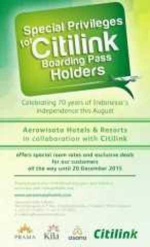 Promo boarding pass citilink menginap di Aerowisata Hotel & Resort diskon hingga 15% dan spesial rate.