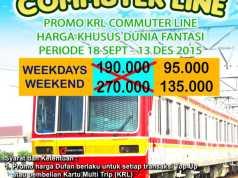 Khusus penumpang KRL bisa mendapatkan promo tiket masuk dufan diskon 50%. Dengan menggunakan struk pembelian top up saldo atau pembelian kartu multi trip KRL Commuter Line
