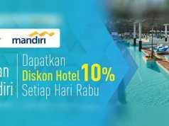 Diskon hotel 10% pesan di dwidaya tour menggunakan kartu kredit Mandiri.