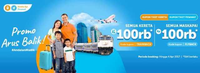 Tiket Balik Lebaran Traveloka diskon RP 100.000