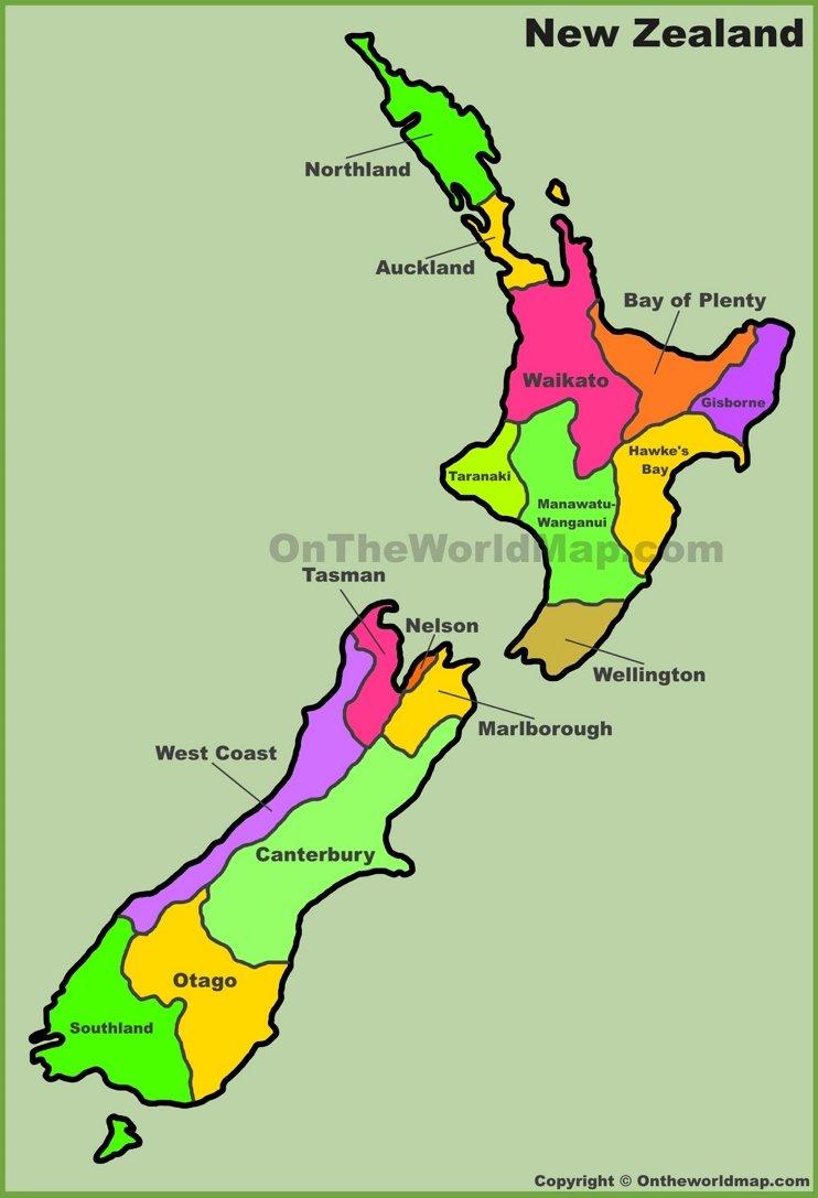 New Zealand map regions