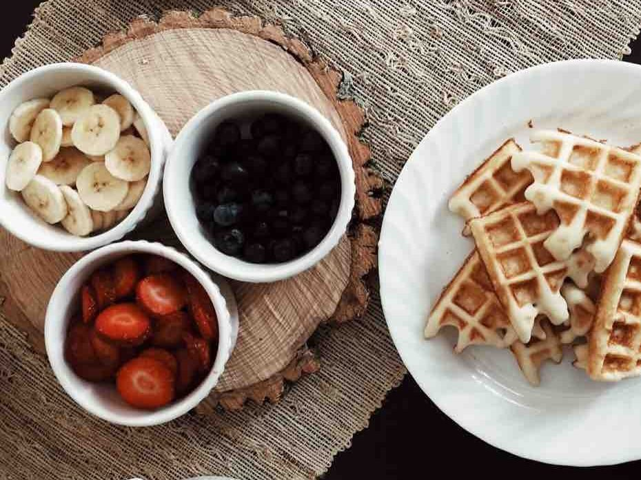Brunch fruit and waffles