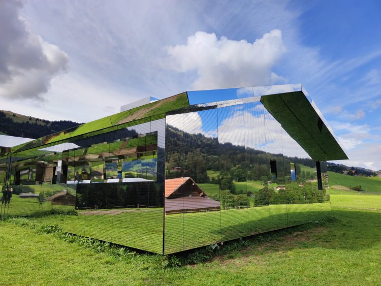 Pop Up Chalet of Mirrors in the Alps Gstaad