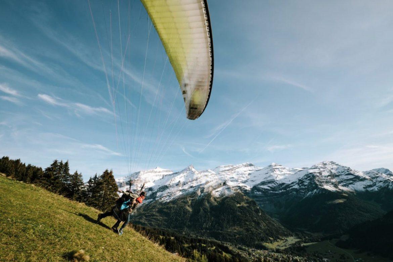 Paragliding near Villars, Gryon, Les Diablerets