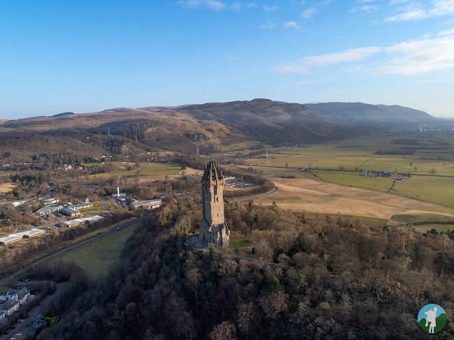 drone wallace monument stirling aerial