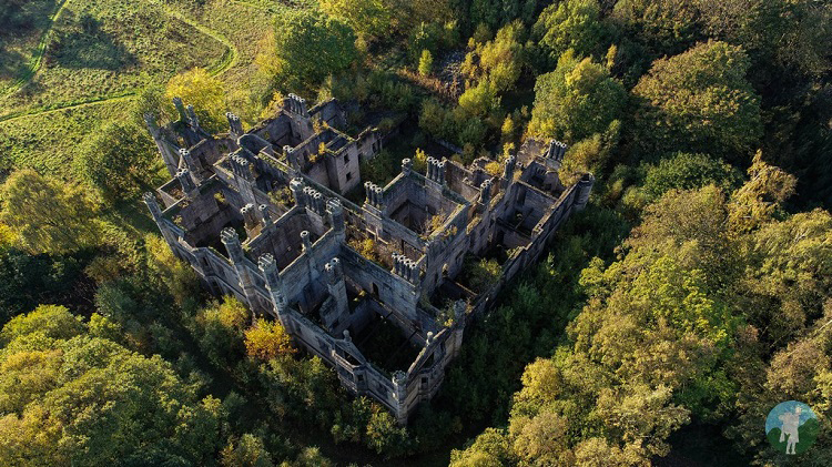 dunmore house aerial drone abandoned scotland