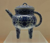 China, Shanghai, Shanghai Museum, Legged Teapot, blueware