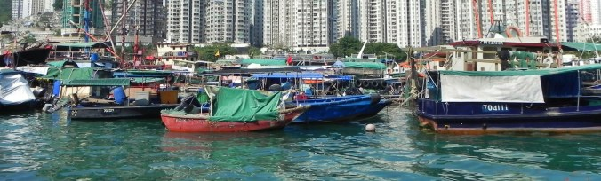 China, Hong Kong, Aberdeen Harbor, sampan boat people