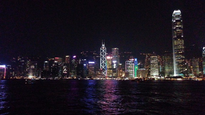 China, Hong Kong, IM Pei, I M Pei, light show, skyline at night