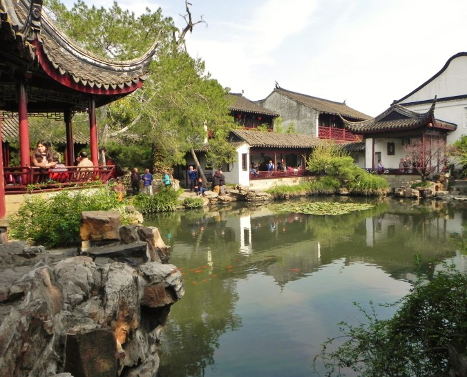China, Shanghai, Suzhou, Master of the Fishing Nets Garden, Central Pool, Lake, Pond, Pavilion
