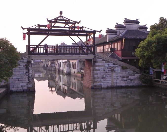 China, Shanghai, Tongli, canals, wooden bridge