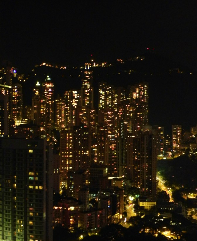 China, Hong Kong, Conrad Hilton, Victoria Peak, night, view