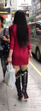 China, Hong Kong, Kowloon, Cameron Street, shop, shopping, dress, short skirt, boots, girl