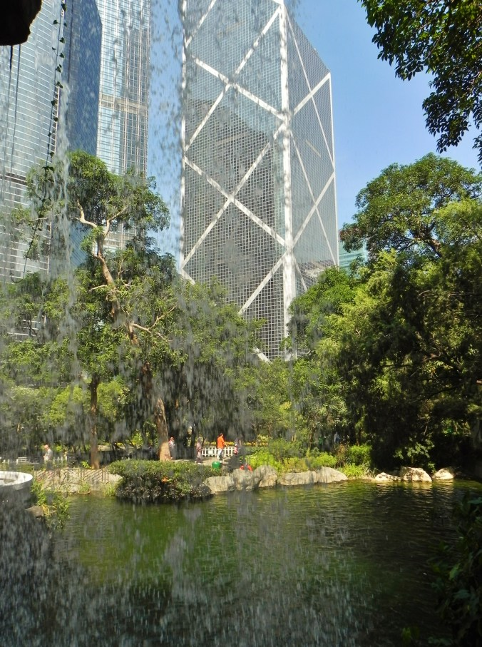 China, Hong Kong, Hong Kong Park, parks, lake, IM Pei, waterfall