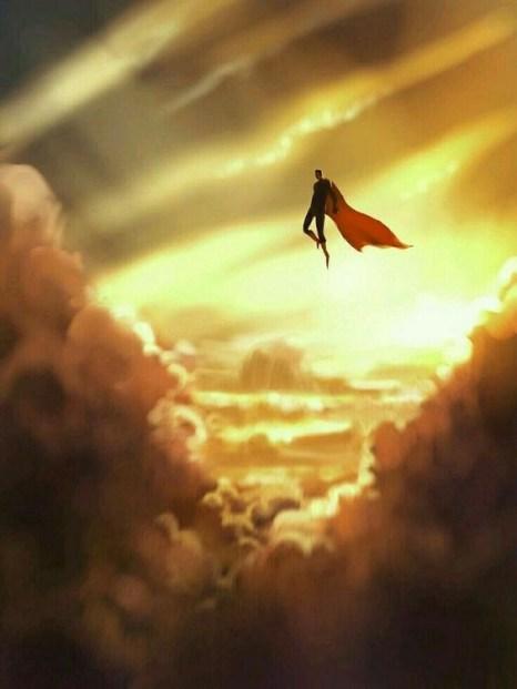 superman in golden sky