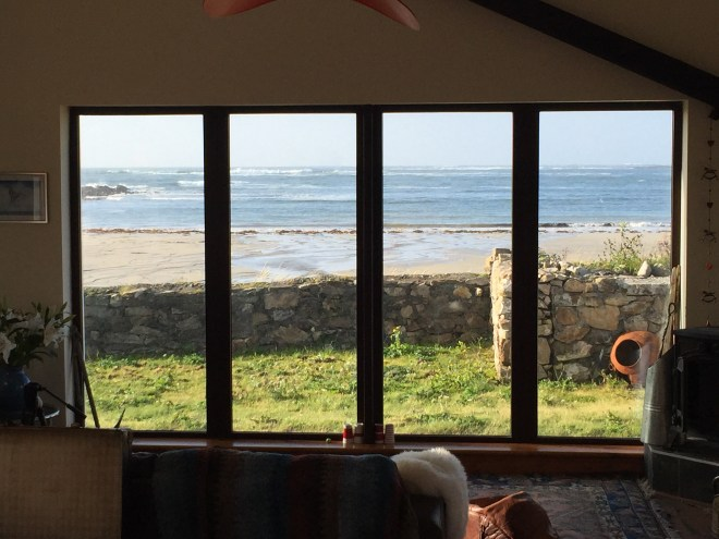 View out to the beach at the Maghery holiday house