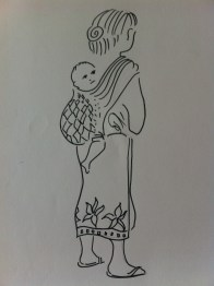 Woman and baby in Pakbeng, Laos from my Indo-China Sketchbook
