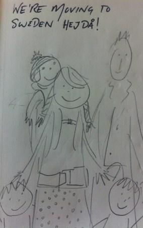 Cartoon sketch of the dunnells... en route to Sweden!
