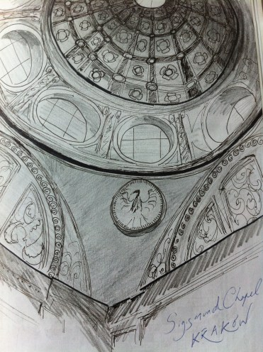 Interior dome of Sigmund's Chapel in Krakow from my Poland Sketchbook.