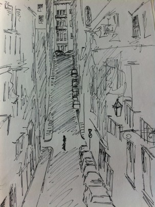 View from a friend's flat in the Bairro Alto, Lisbon, from my Portugal Sketchbook