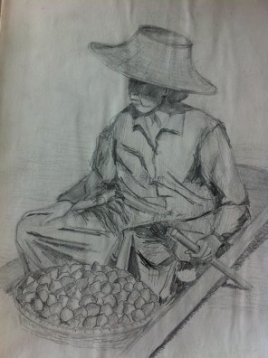 Woman selling limes at a floating market in Bangkok, Thailand from my South East Asia Sketchbook.