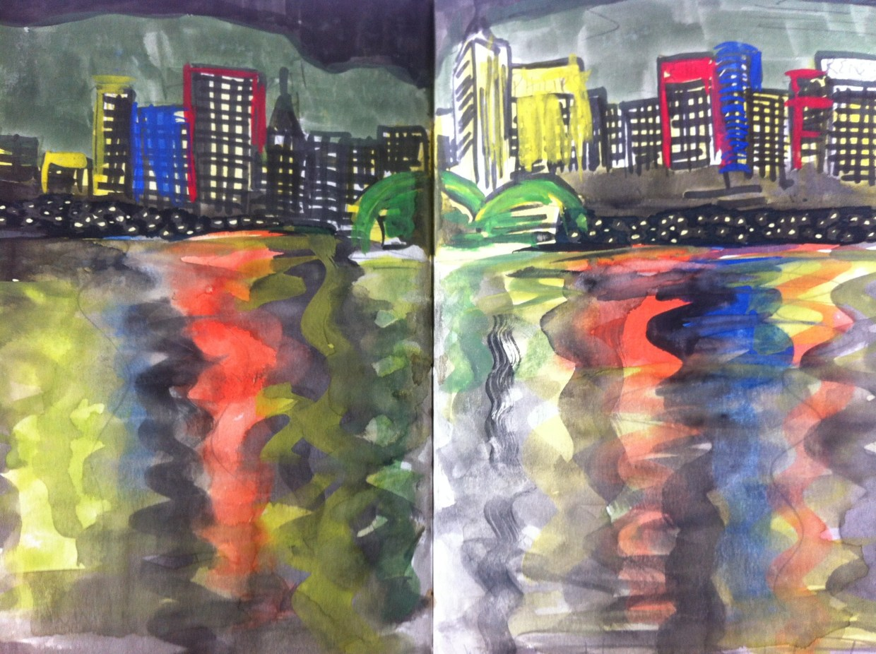 View of Hong Kong harbour at night from the Star Ferry – from my Hong Kong sketchbook.