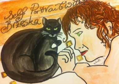 Self Portrait with my very handsome cat, Brzeska.
