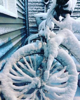 Bikes in the snow in Stockholm, Sweden