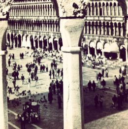 Piazza San Marco through the balcony of the Basilica in Venice, Italy.