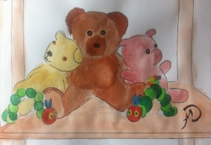 Teddy, Branwell, Musical Piggy and two very hungry caterpillars sat on a shelf in Frida's room.
