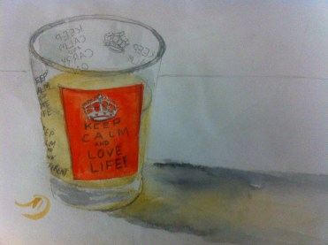 Apple juice in my Keep Calm and Love Life glass.