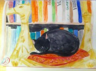 Every Day in May 2014 #25 Draw a cat - My old cat Brzeska having a nap on the Syrian camel foot stool.