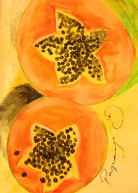 My watercolour of a papaya