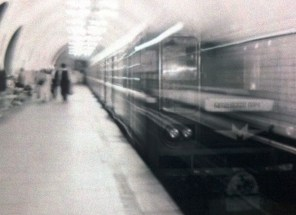 Train pulling into the Moscow Metro, Russia