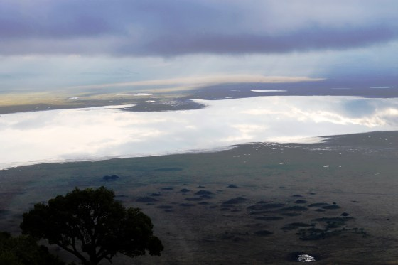 View of the Ngorogoro Crater at dawn.