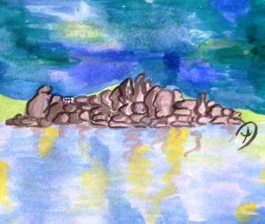 Rocky outcrop in Lake Victoria, Mwanza..