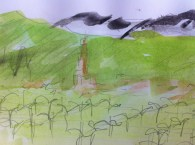 Sketch drawn early in the morning of vineyards in the south of France.