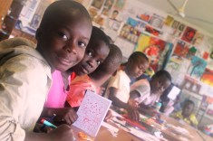 Making Christmas cards and snow flakes at Isamilo's Saturday School Christmas party.