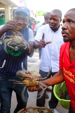 Haggling over some live crabs at Kivukoni Fish Market in Dar Es Salaam, Tanzania