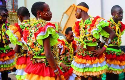 Performers backstage at the Kenyan Drama Festival in Mwanza, Tanzania