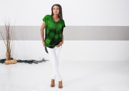 Model wearing my Green Lights top design for Vida