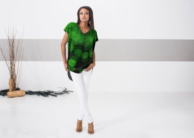 Model wearing my Green Lights top design for Vida