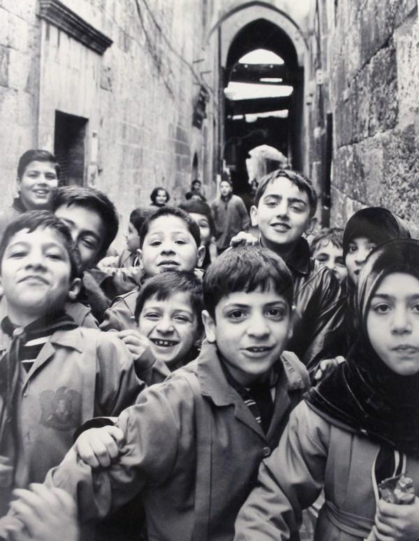 Schools out in Al-Madina Souq in Aleppo, Syria.