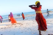 Girls on Matemwe Beach, Zanzibar