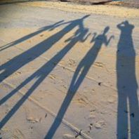 Dunnell Family shadows on Matemwe Beach in Zanzibar, Tanzania