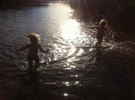 Lottie and Frida - Wild swimming in the lake at Domarudden near Åkersberga.