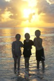 Lottie, Leon and Frida enjoying the sunrise over the Indian Ocean