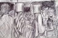 Sketch of people inside Kivukoni Fish Market in Dar Es Salaam, Tanzania
