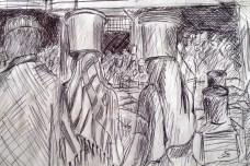 Sketch of people inside Kivukoni Fish Market in Dar Es Salaam, Tanzania