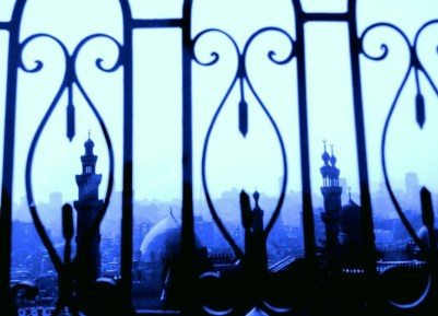 Cairo through the railings of the Citadel, Egypt.